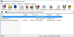 Результат добавления файла в архив