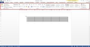 Меню для форматирования текста в таблице